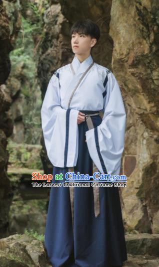 Chinese Traditional Jin Dynasty Historical Costume Ancient Swordsman Embroidered Clothing for Men
