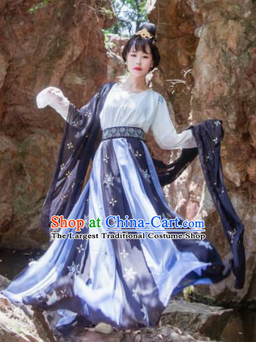 Chinese Traditional Tang Dynasty Las Meninas Historical Costume Ancient Court Maid Embroidered Dress for Women