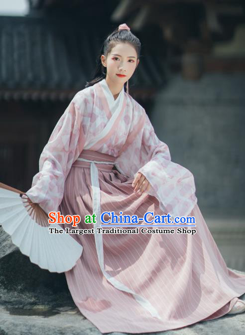 Chinese Traditional Ancient Swordswoman Hanfu Dress Jin Dynasty Historical Costume for Women