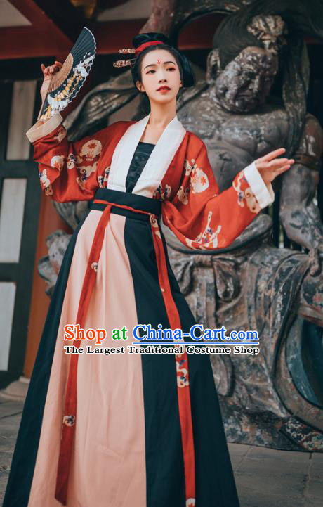 Chinese Traditional Ancient Court Lady Hanfu Dress Tang Dynasty Princess Historical Costume for Women