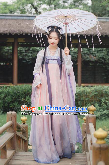 Chinese Traditional Ancient Peri Hanfu Dress Tang Dynasty Court Princess Historical Costume for Women