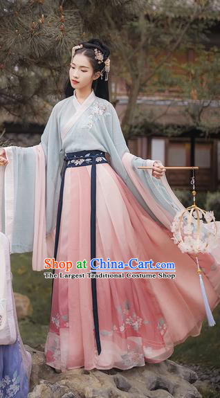 Chinese Traditional Ancient Palace Lady Embroidered Hanfu Dress Jin Dynasty Imperial Concubine Historical Costume for Women