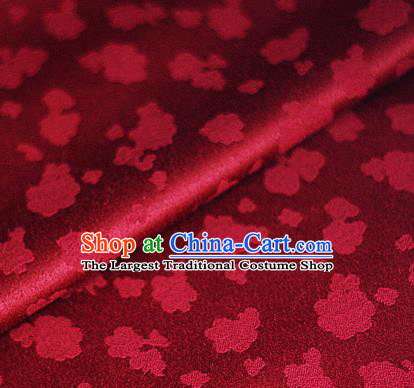 Asian Chinese Traditional Royal Flowers Pattern Wine Red Brocade Cheongsam Silk Fabric Chinese Satin Fabric Material