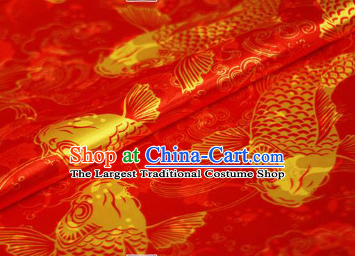 Chinese Classical Carps Pattern Design Red Brocade Cheongsam Silk Fabric Chinese Traditional Satin Fabric Material