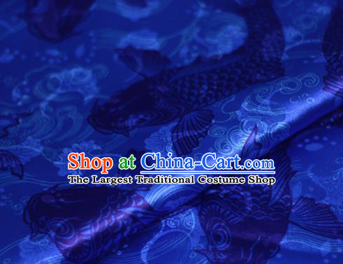 Chinese Classical Carps Pattern Design Blue Brocade Cheongsam Silk Fabric Chinese Traditional Satin Fabric Material