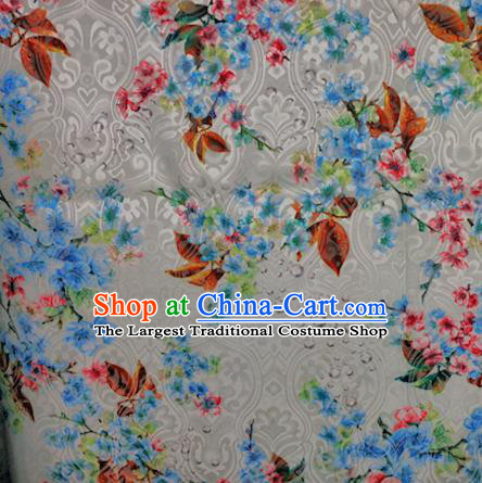 Chinese Classical Blue Flowers Pattern Design Brocade Satin Cheongsam Silk Fabric Chinese Traditional Satin Fabric Material