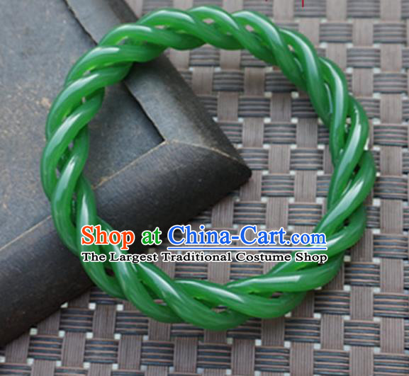 Chinese Handmade Ancient Green Jade Bracelet Traditional Jade Bangle Jewelry Accessories for Women for Men