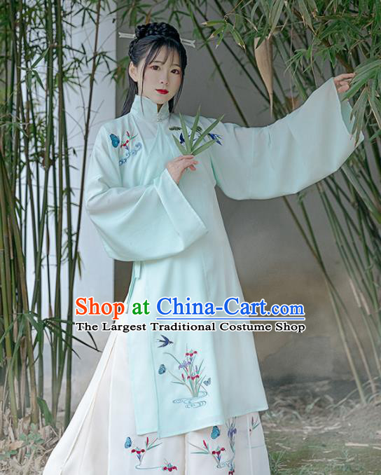 Chinese Ancient Embroidered Orchid Hanfu Dress Traditional Drama Ming Dynasty Nobility Lady Historical Costume for Women