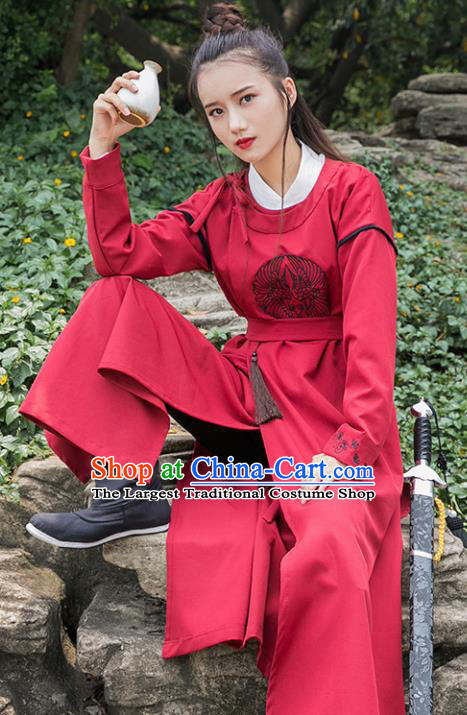Traditional Chinese Tang Dynasty Young Swordswoman Red Robe Ancient Female Knight Costume for Women