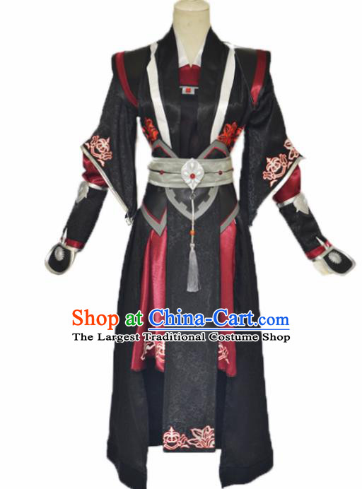 Traditional Chinese Cosplay Swordsman Black Clothing Ancient Imperial Bodyguard Costume for Men