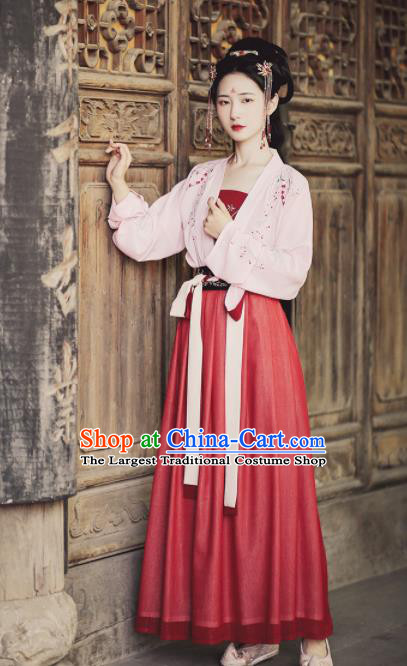 Ancient Chinese Tang Dynasty Nobility Lady Hanfu Dress Traditional Court Maid Embroidered Historical Costume for Women