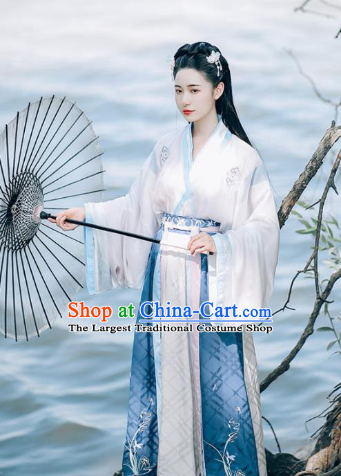 Ancient Chinese Jin Dynasty Court Princess Hanfu Dress Traditional Palace Embroidered Historical Costume for Women