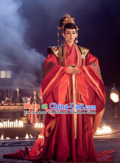 Chinese Ancient Legend Hoshin Engi Shang Dynasty Empress Historical Costume and Headpiece for Women