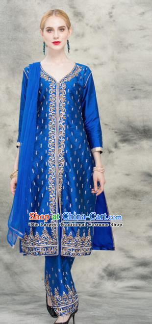 South Asian India Traditional Royalblue Costume Asia Indian National Punjabi Suit for Women