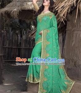Asian India Traditional Green Veil Sari Dress Indian Court Princess Bollywood Embroidered Costume for Women