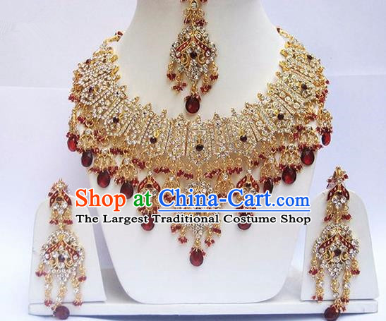 Indian Traditional Bollywood Court Red Crystal Tassel Necklace Earrings and Eyebrows Pendant India Princess Jewelry Accessories for Women