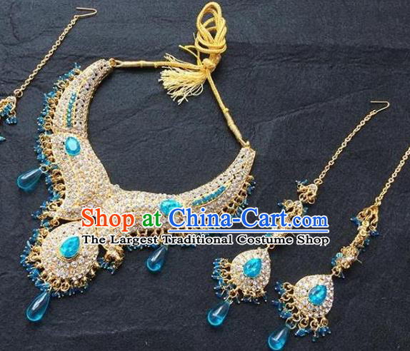 Traditional Indian Bollywood Jewelry Accessories India Princess Crystal Necklace Earrings and Eyebrows Pendant for Women