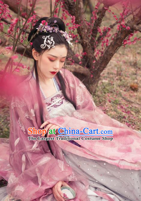 Asian Chinese Tang Dynasty Imperial Consort Historical Costume Ancient Traditional Hanfu Dress for Women