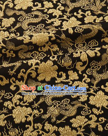 Chinese Traditional Dragon Peony Pattern Design Black Brocade Hanfu Silk Fabric Tang Suit Fabric Material