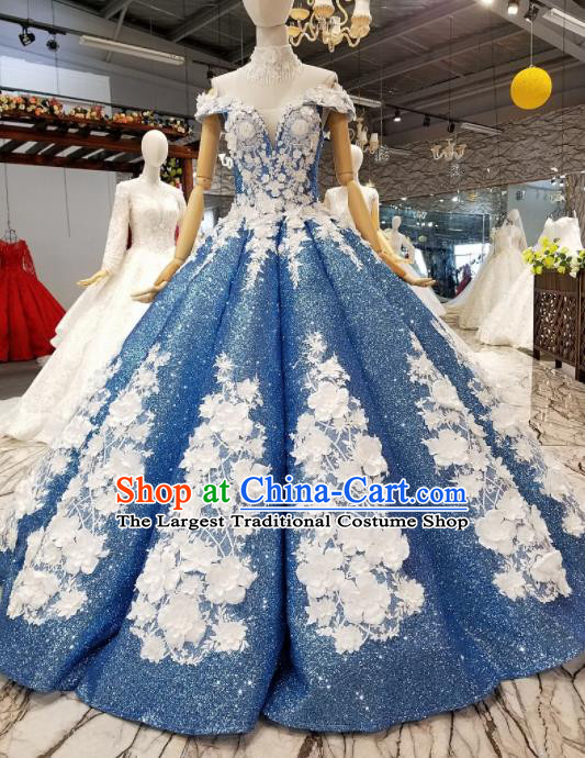 Top Grade Modern Fancywork Blue Sequins Full Dress Customize Waltz Dance Costume for Women