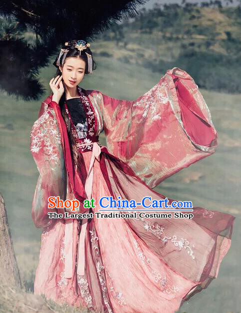 Traditional Chinese Jin Dynasty Empress Embroidered Hanfu Dress Ancient Drama Court Princess Historical Costume for Women