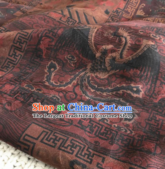 Asian Chinese Traditional Dragon and Phoenix Pattern Design Brocade Fabric Silk Fabric Chinese Fabric Asian Material