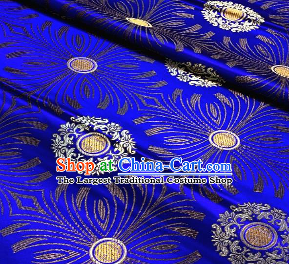 Asian Chinese Traditional Round Flowers Pattern Design Royalblue Brocade Fabric Silk Fabric Chinese Fabric Asian Material