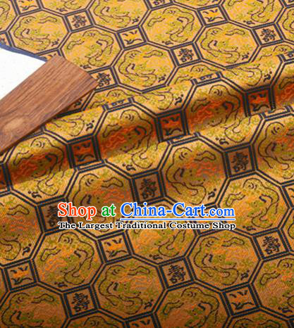 Chinese Traditional Hanfu Silk Fabric Classical Longevity Dragon Pattern Design Golden Brocade Tang Suit Fabric Material