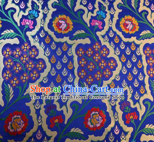 Chinese Classical Pattern Design Royalblue Brocade Traditional Hanfu Silk Fabric Tang Suit Fabric Material