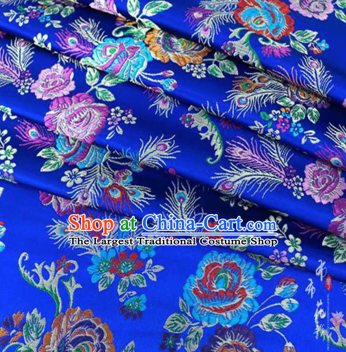 Chinese Classical Peony Pattern Design Royalblue Brocade Traditional Hanfu Silk Fabric Tang Suit Fabric Material