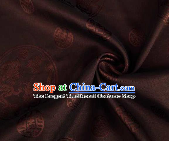 Chinese Classical Round Dragon Pattern Design Brown Brocade Traditional Hanfu Silk Fabric Tang Suit Fabric Material