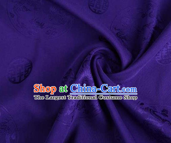 Chinese Classical Round Dragon Pattern Design Purple Brocade Traditional Hanfu Silk Fabric Tang Suit Fabric Material