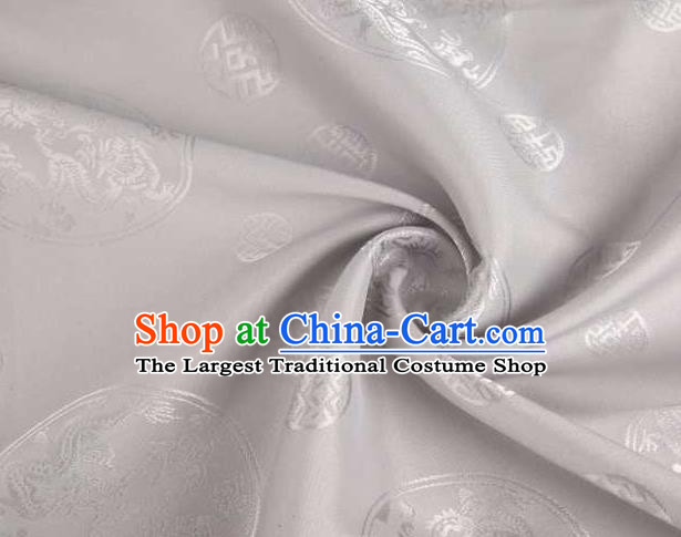 Chinese Classical Round Dragon Pattern Design Grey Brocade Traditional Hanfu Silk Fabric Tang Suit Fabric Material