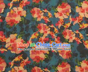 Chinese Traditional Pattern Design Lake Blue Satin Watered Gauze Brocade Fabric Asian Silk Fabric Material