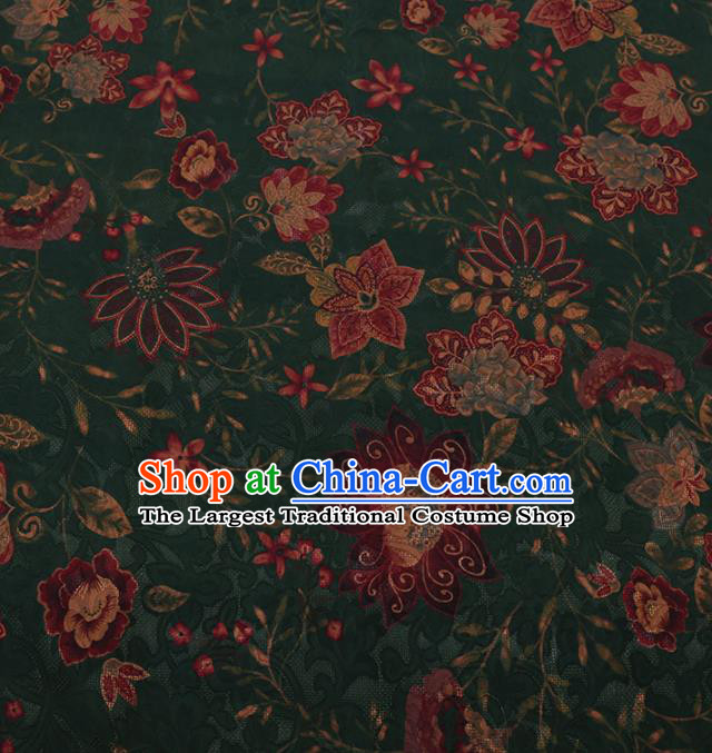 Traditional Chinese Satin Classical Flower Pattern Design Green Watered Gauze Brocade Fabric Asian Silk Fabric Material