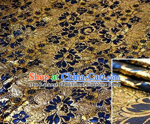Chinese Classical Begonia Pattern Design Royalblue Brocade Asian Traditional Hanfu Silk Fabric Tang Suit Fabric Material