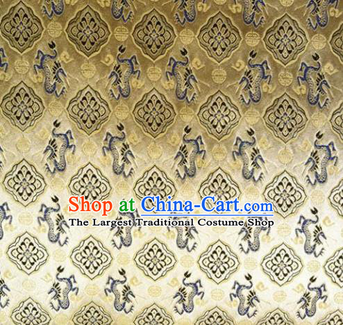 Chinese Classical Dragons Pattern Design Golden Brocade Asian Traditional Hanfu Silk Fabric Tang Suit Fabric Material
