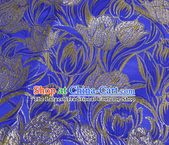 Chinese Classical Tulip Pattern Design Royalblue Brocade Asian Traditional Hanfu Silk Fabric Tang Suit Fabric Material