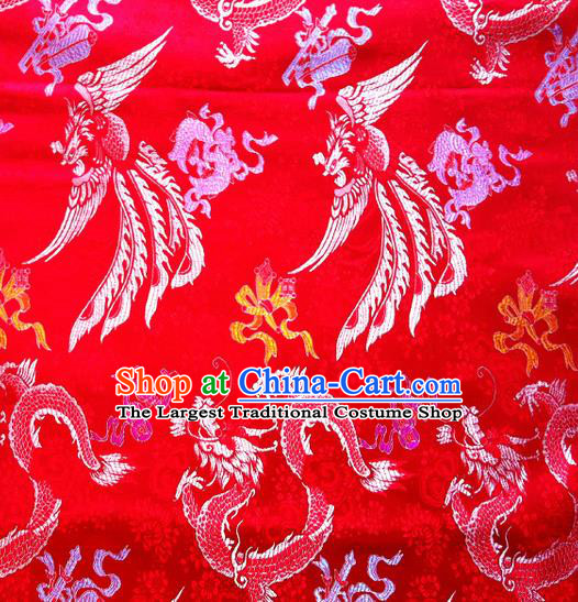 Chinese Classical Dragon Phoenix Pattern Design Brocade Asian Traditional Hanfu Silk Fabric Tang Suit Fabric Material