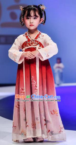 Traditional Chinese Tang Dynasty Princess Embroidered Hanfu Dress Ancient Drama Peri Historical Costume for Kids