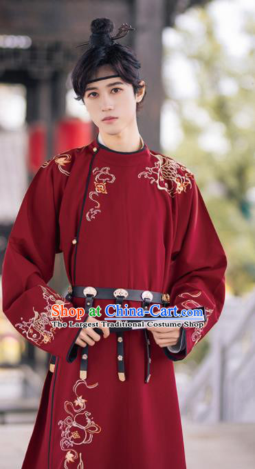 Traditional Chinese Tang Dynasty Imperial Bodyguard Embroidered Hanfu Robe Ancient Drama Swordsman Historical Costume for Men