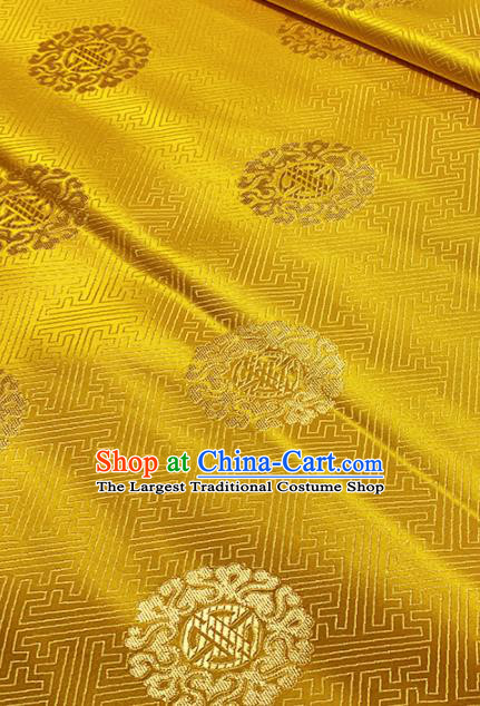 Chinese Classical Round Pattern Design Golden Brocade Asian Traditional Cheongsam Silk Fabric Tang Suit Fabric Material