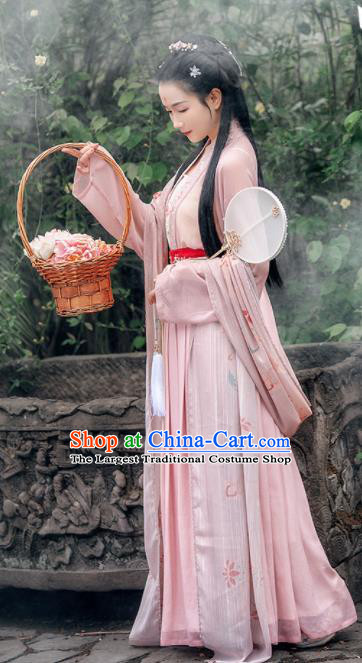 Traditional Chinese Ancient Young Lady Embroidered Historical Costume Song Dynasty Village Girl Hanfu Dress for Women