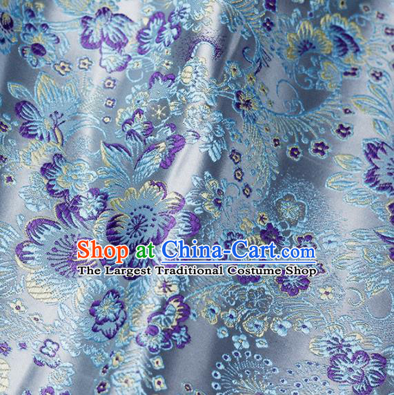 Asian Chinese Classical Flowers Pattern Design Blue Satin Fabric Brocade Traditional Drapery Silk Material
