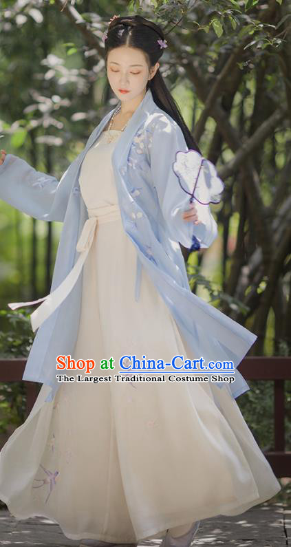 Asian Chinese Ancient Embroidered Hanfu Dress Traditional Song Dynasty Young Lady Historical Costume for Women