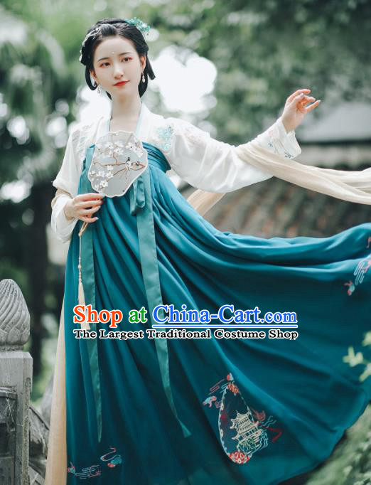 Asian Chinese Ancient Court Embroidered Hanfu Dress Traditional Tang Dynasty Royal Princess Historical Costume for Women