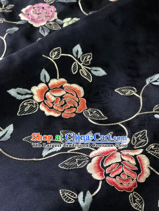 Traditional Chinese Embroidered Peony Flowers Black Silk Fabric Classical Pattern Design Brocade Fabric Asian Satin Material
