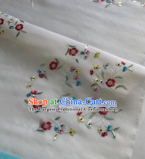Traditional Chinese Embroidered Flowers White Silk Fabric Classical Pattern Design Brocade Fabric Asian Satin Material