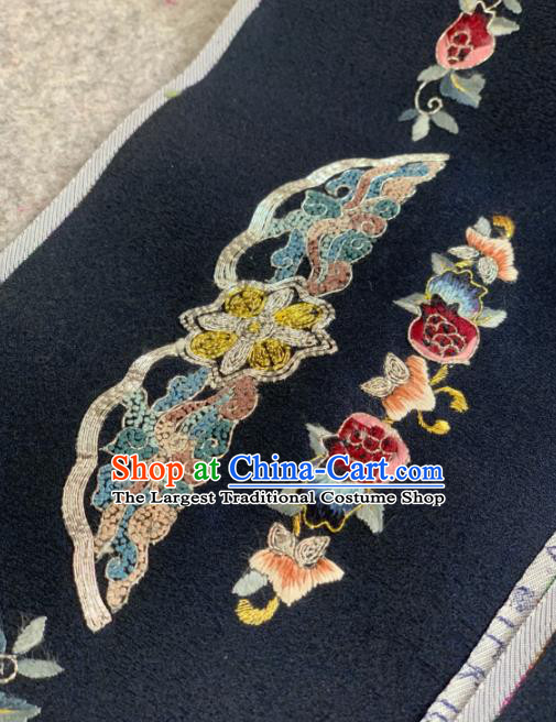 Traditional Chinese Black Satin Classical Embroidered Flowers Pattern Design Brocade Fabric Asian Silk Fabric Material