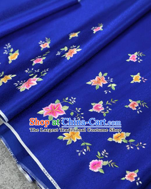 Traditional Chinese Satin Classical Embroidered Flower Pattern Design Royalblue Brocade Fabric Asian Silk Fabric Material